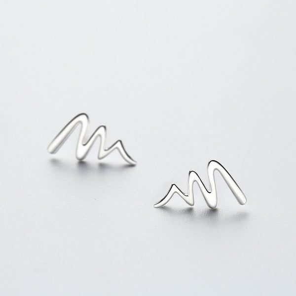 Ritzy Waves Sterling Silver Minimal Studs-Silver Earrings-Blinglane
