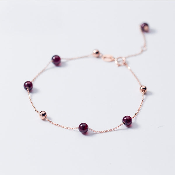 Refined Red Garnet Beads Minimal Sterling Silver Bracelet