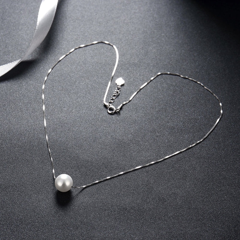 Minimal Pearl Sterling Silver Necklace-Blinglane