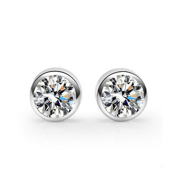 Silken Solitaires Sterling Silver Minimal Studs-Silver Earrings-Blinglane
