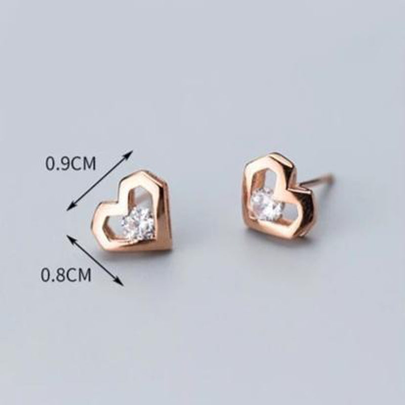 Modern Hearts Sterling Silver Minimal Studs-Silver Earrings-Blinglane