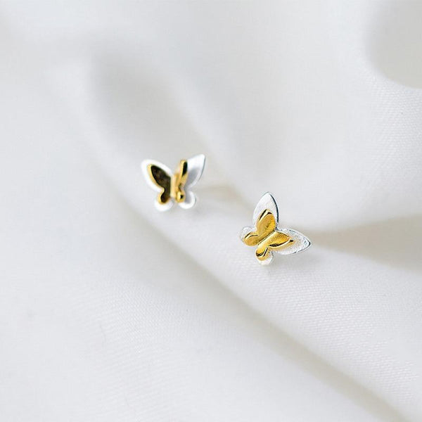 Minimal Butterfly Sterling Silver Studs