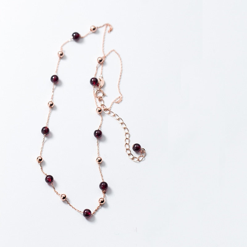 Refined Red Garnet Beads Minimal Sterling Silver Necklace