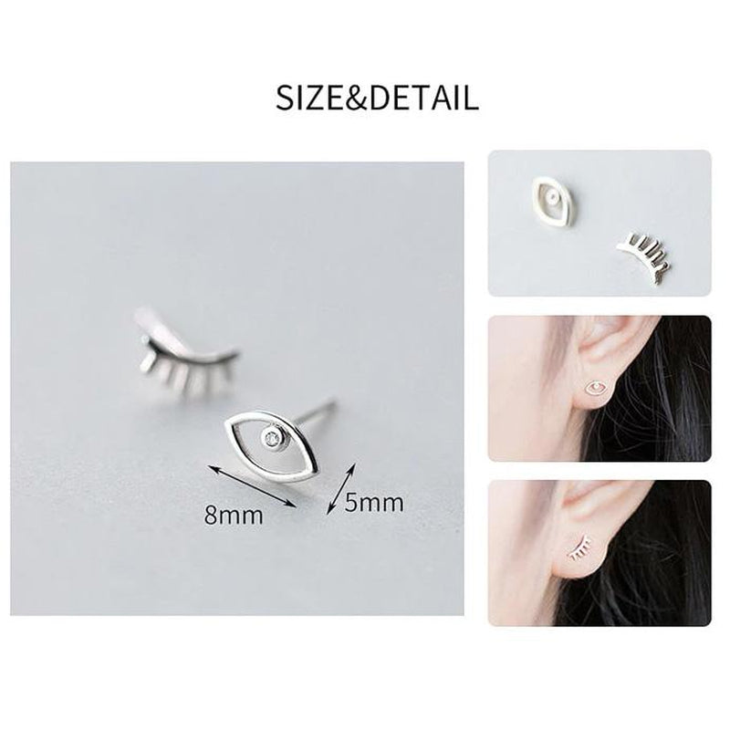 Twinkling Eyes Sterling Silver Studs-Silver Earrings-Blinglane