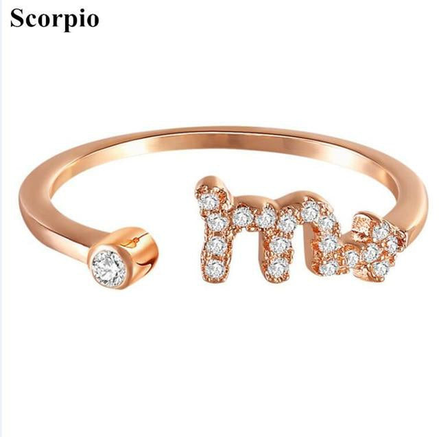 Minimal Zodiac Sun Sign Fashion Rings-Blinglane