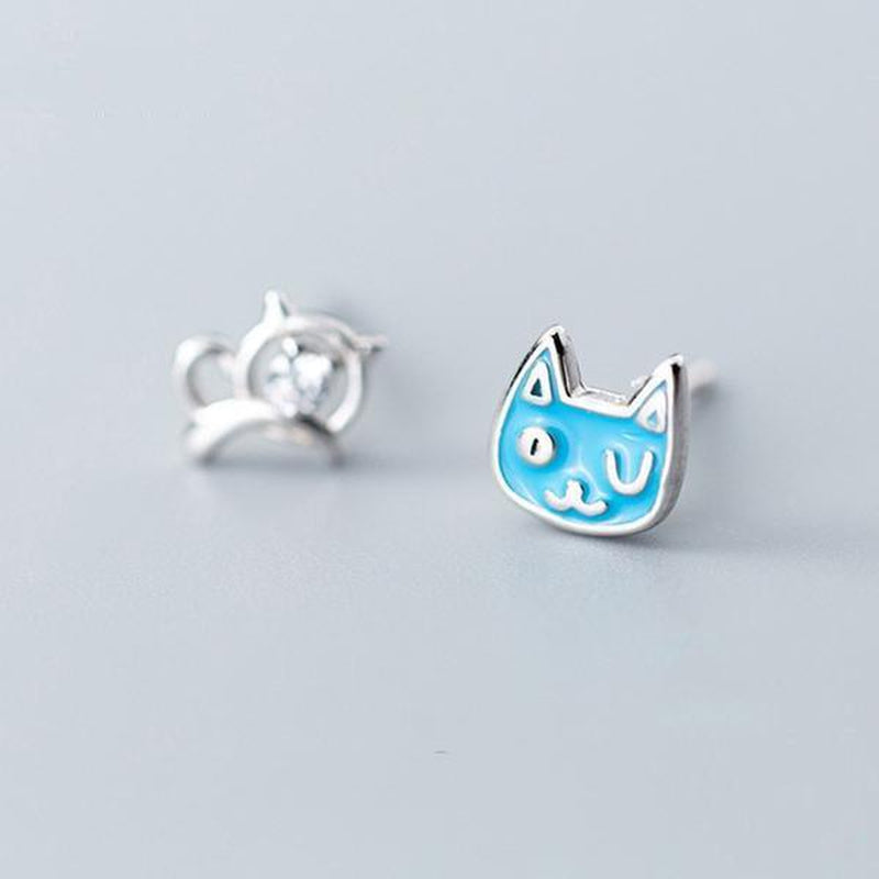 Happy Kitty Sleepy Kitty Sterling Silver Studs