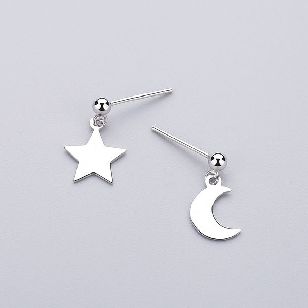 Sheen Galaxy Sterling Silver Minimal Studs-Silver Earrings-Blinglane