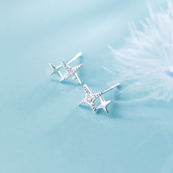 Starry Eyed Sterling Silver Minimal Studs-Silver Earrings-Blinglane