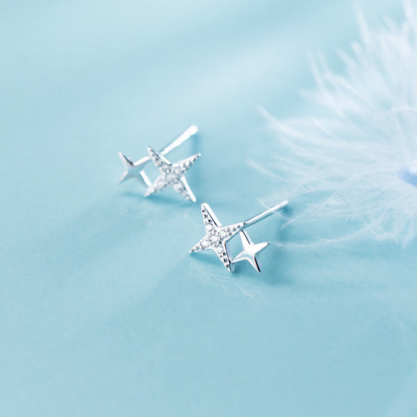 Starry Eyed Sterling Silver Minimal Studs