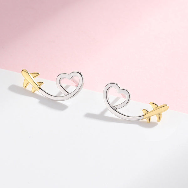 Heart In The Sky Sterling Silver Minimal Studs-Silver Earrings-Blinglane