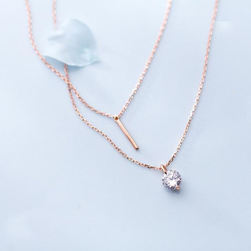 Scintillating Solitaire & Bar Sterling Silver Layered Necklace