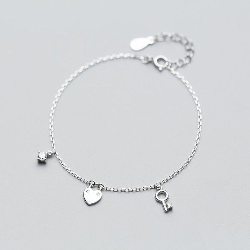 Key to My Heart Sterling Silver Charms Bracelet