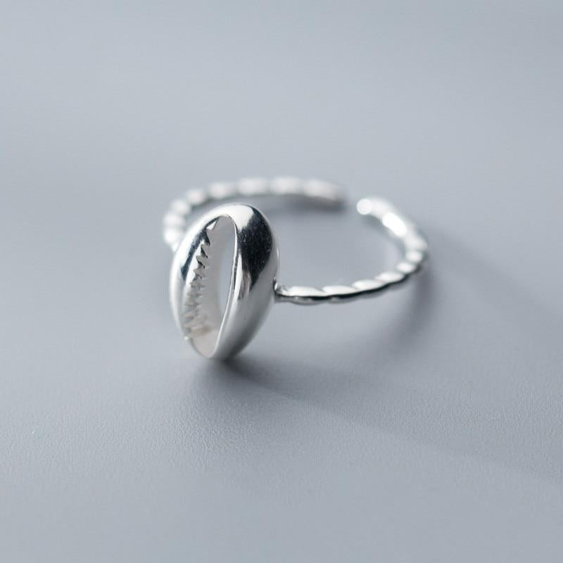Cowrie Sea Shell Sterling Silver Ring