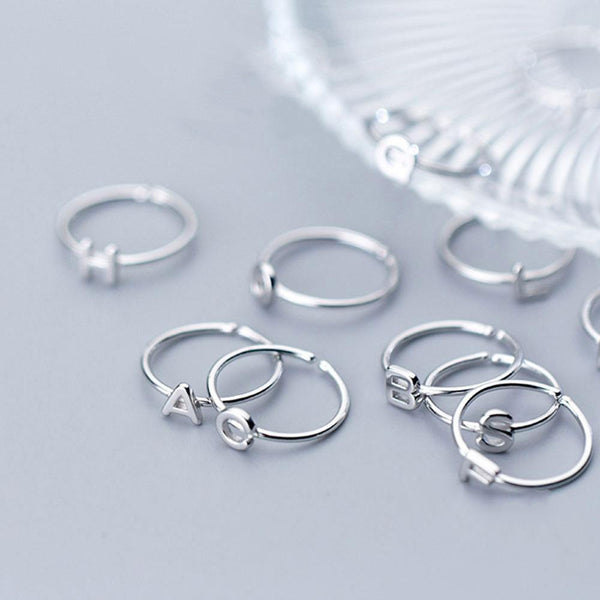 Minimal Initial Sterling Silver Stackable Ring