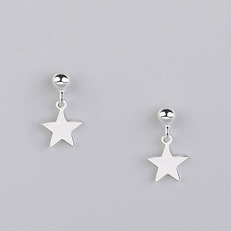 Gleaming Stars Minimal Sterling Silver Drop Studs-Silver Earrings-Blinglane