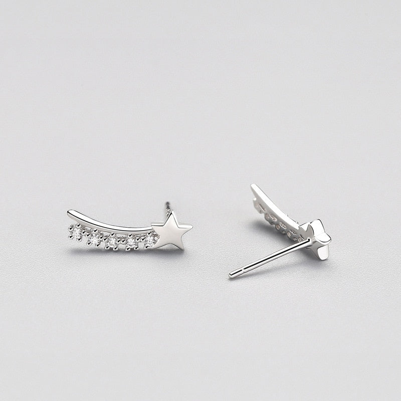Shooting Star Minimal Sterling Silver Studs