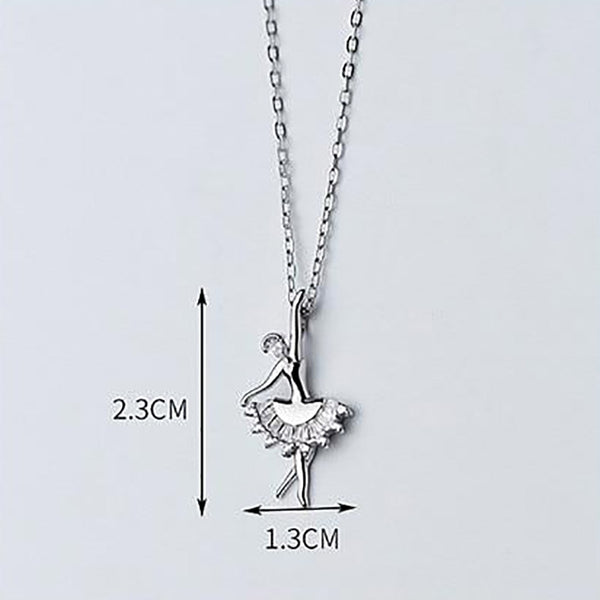 Lovely Ballerina Minimal Sterling Silver Necklace