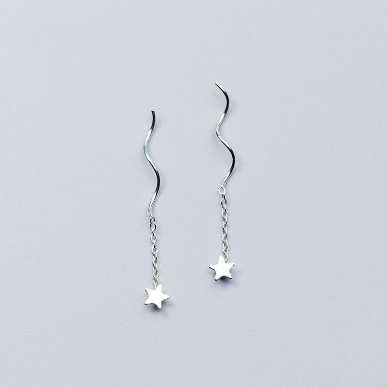 Shooting Stars Minimal Sterling Silver Earrings