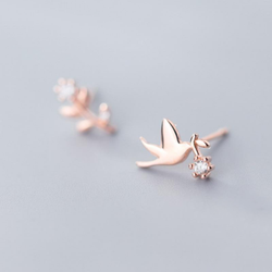 Hummingbird Minimal Sterling Silver Studs-Silver Earrings-Blinglane