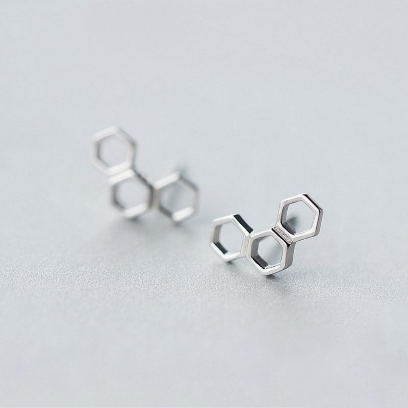 Swanky Honeycomb Sterling Silver Minimal Studs-Silver Earrings-Blinglane
