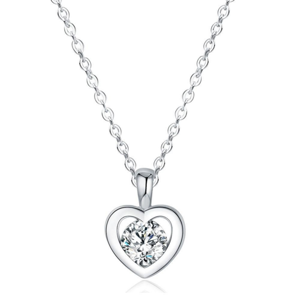 Solitaire in Heart Minimal  Necklace