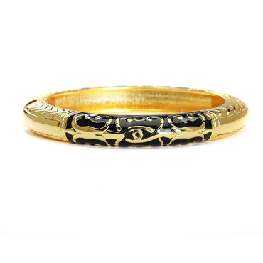 Quaint Quotient Black & Gold Cuff Bracelet-Blinglane