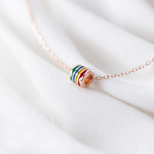 Rainbow Love Minimal Sterling Silver Necklace-Silver Necklace-Blinglane