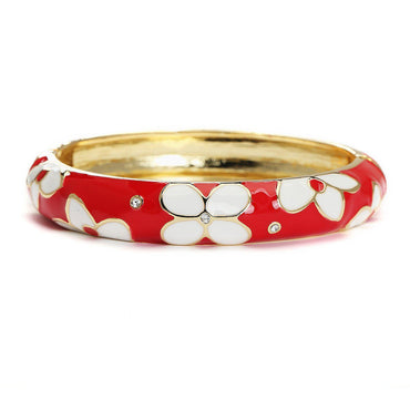 Red Radiance Metallic Fashion Bangle-Blinglane
