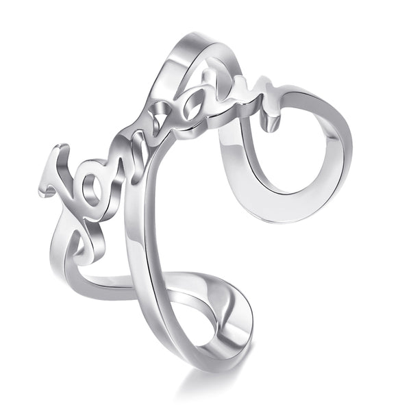 Personalize Your Name Sterling Silver Infinity Ring