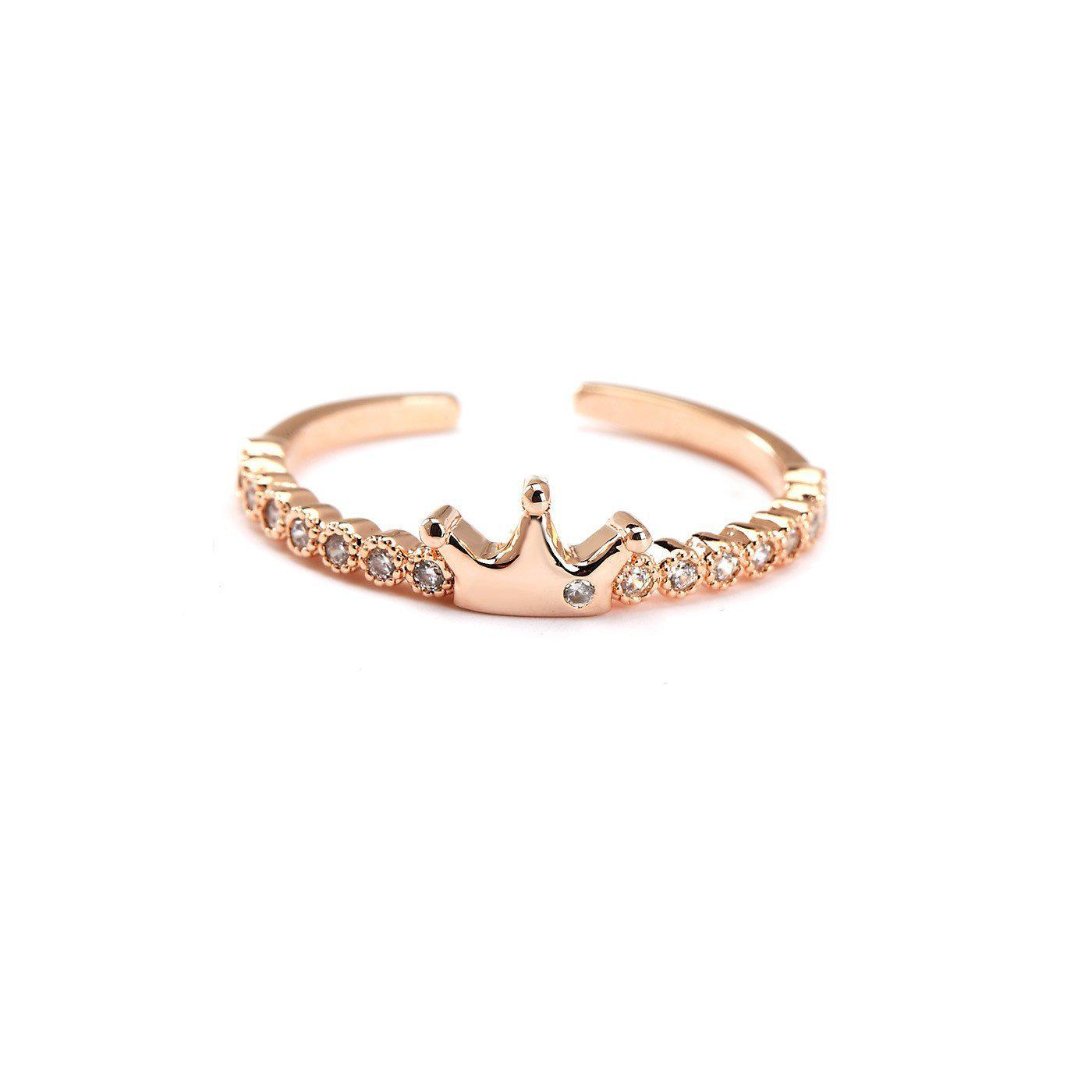 Rose Gold Plated Crown Midi Ring-Blinglane