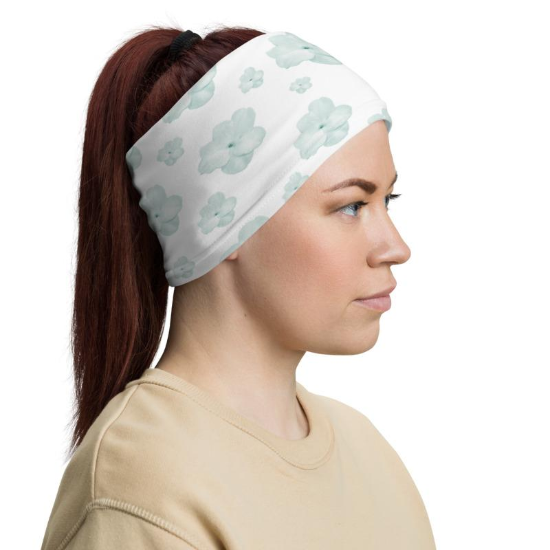 Sea Green Floral Neck Gaiter-Neck Gaiters-Blinglane