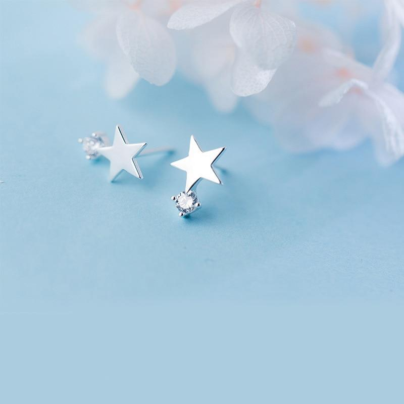 Shiny Solitaire On Star Sterling Silver Minimal Studs-Silver Earrings-Blinglane