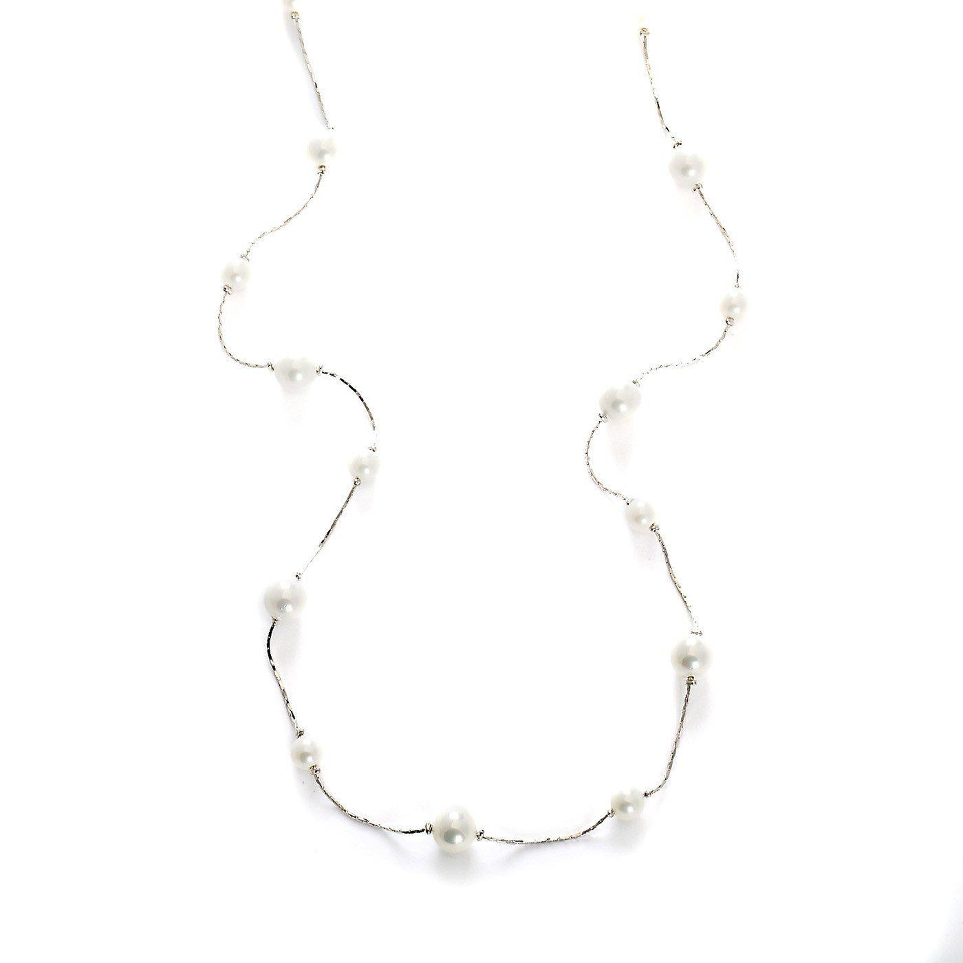 Silver Sizzle Pearls Long Necklace-Blinglane