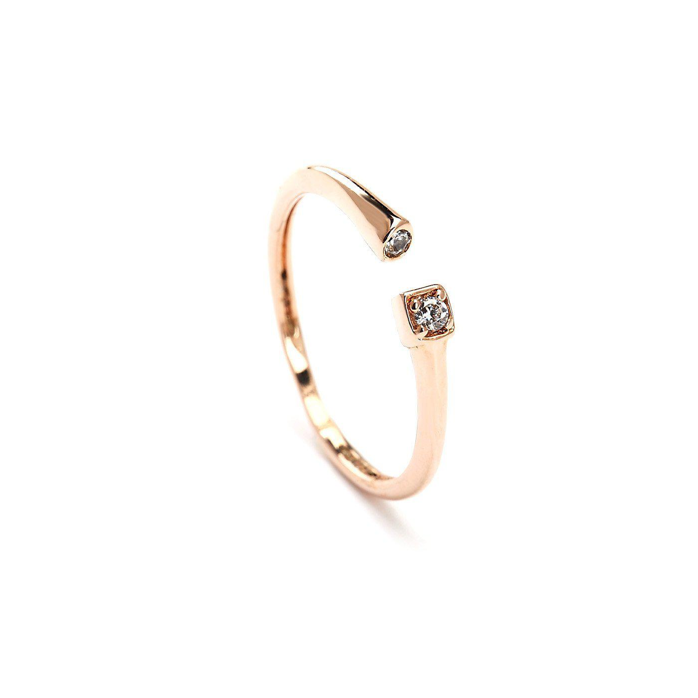 Sleek Look Studded Rose Gold Plated Ring-Blinglane