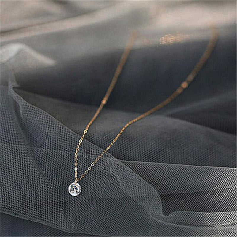 Minimal Solitaire Sterling Silver Necklace
