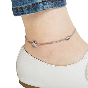 Spidey Style Silver Plated Anklet-Blinglane