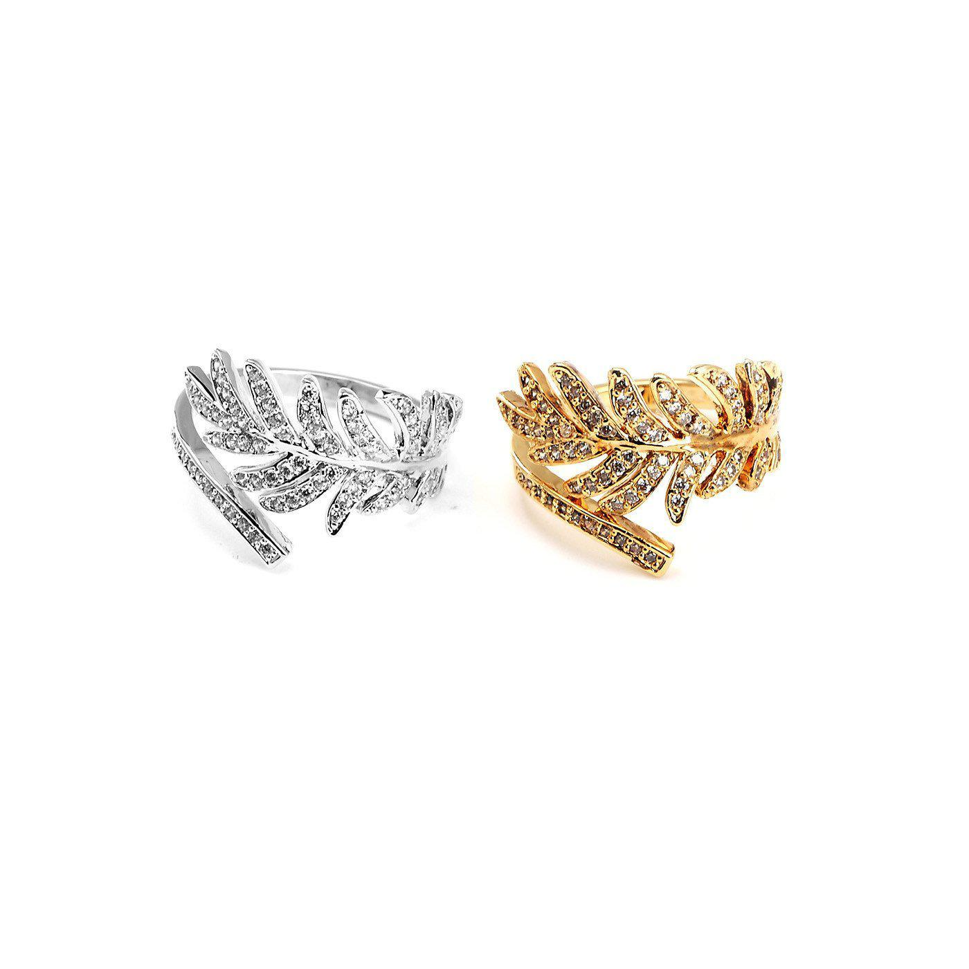 Spring Leaf 18k Yellow Gold Plated Cz Rings-Blinglane