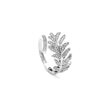 Spring Leaf Silver Rhodium Plated Cz Rings-Blinglane