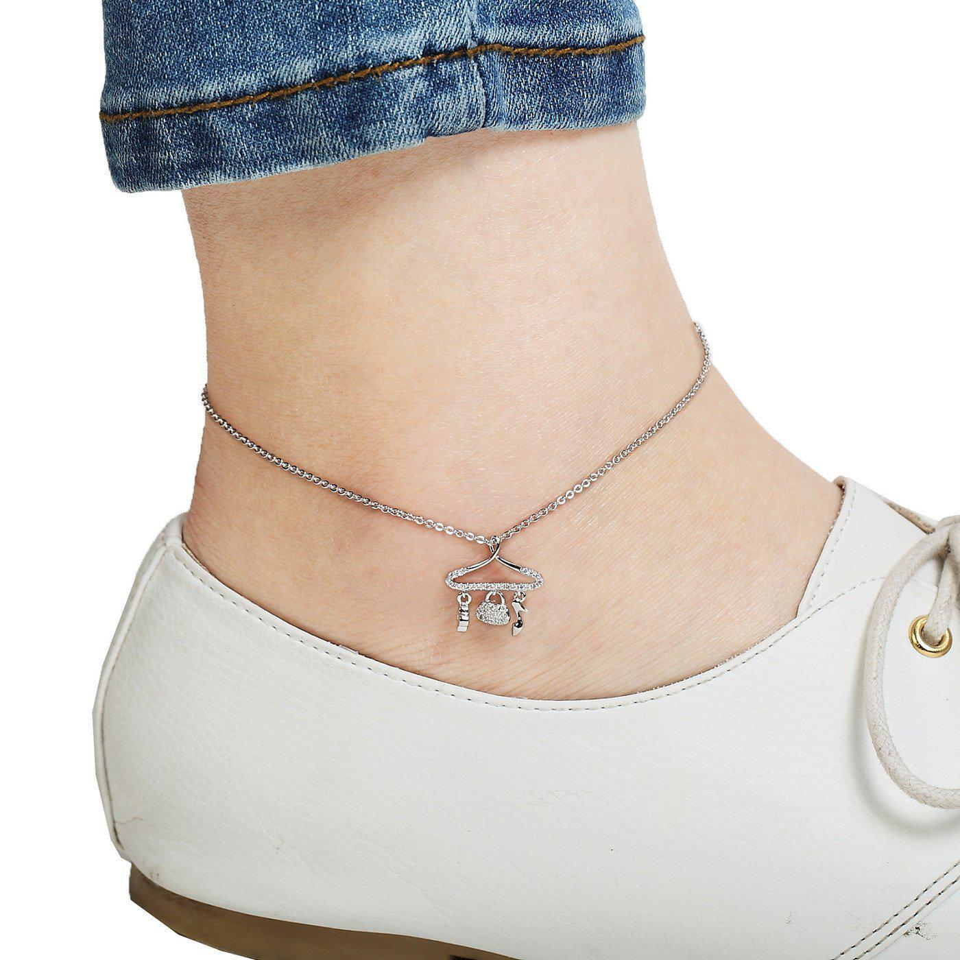 Stylista Silver Plated bling Anklet-Blinglane