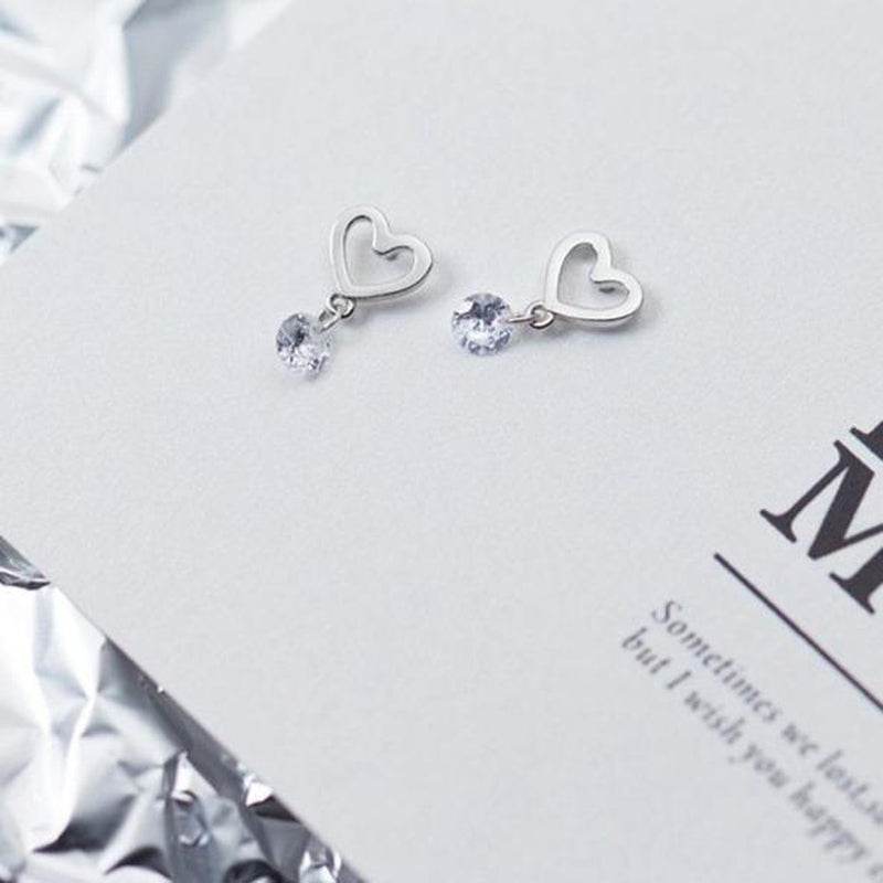 Swaying Solitaire On Heart Sterling Silver Minimal Studs-Silver Earrings-Blinglane