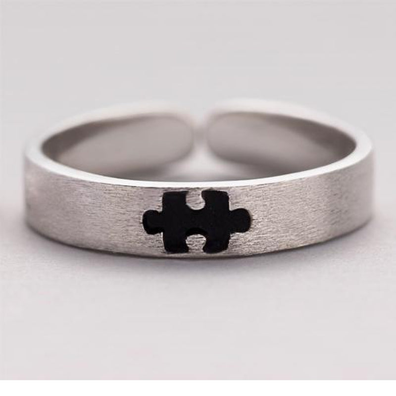 The Missing Piece of My Puzzle Sterling Silver Love Bands-Blinglane