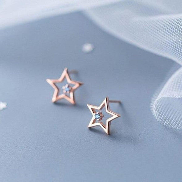 Twinkling Star Minimal Sterling Silver Studs-Silver Earrings-Blinglane