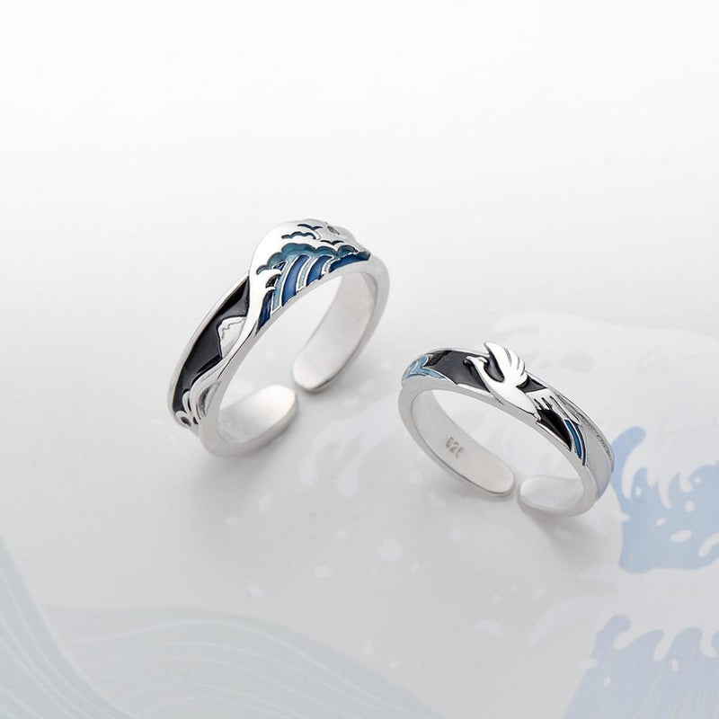 Waves or Winds Together Forever Sterling Silver Love Bands-Blinglane
