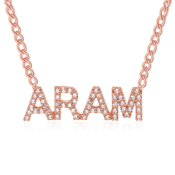 Personalize Your Zircon Studded Name Fashion Necklace-Blinglane