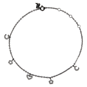 Wildflower Charms Elite Black Anklet-Blinglane