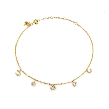 Wildflower Charms Gold Plated Anklet-Blinglane