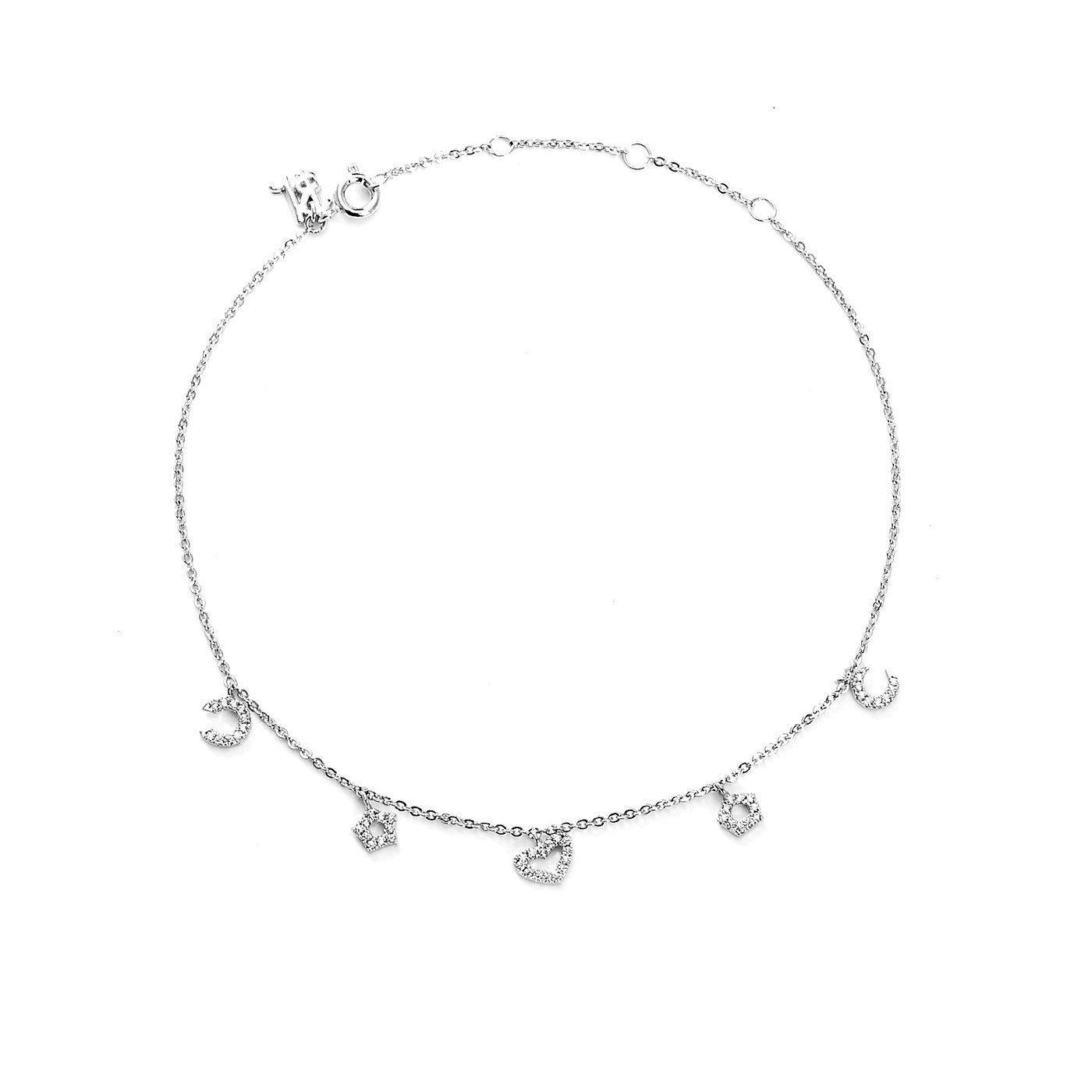 Wildflower Charms Silver Plated Anklet-Blinglane
