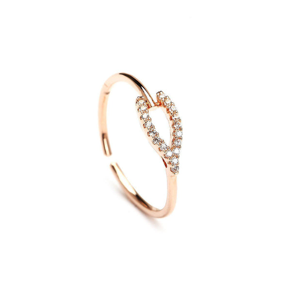 Wish Bone Cz Rose Gold Plated Ring-Blinglane