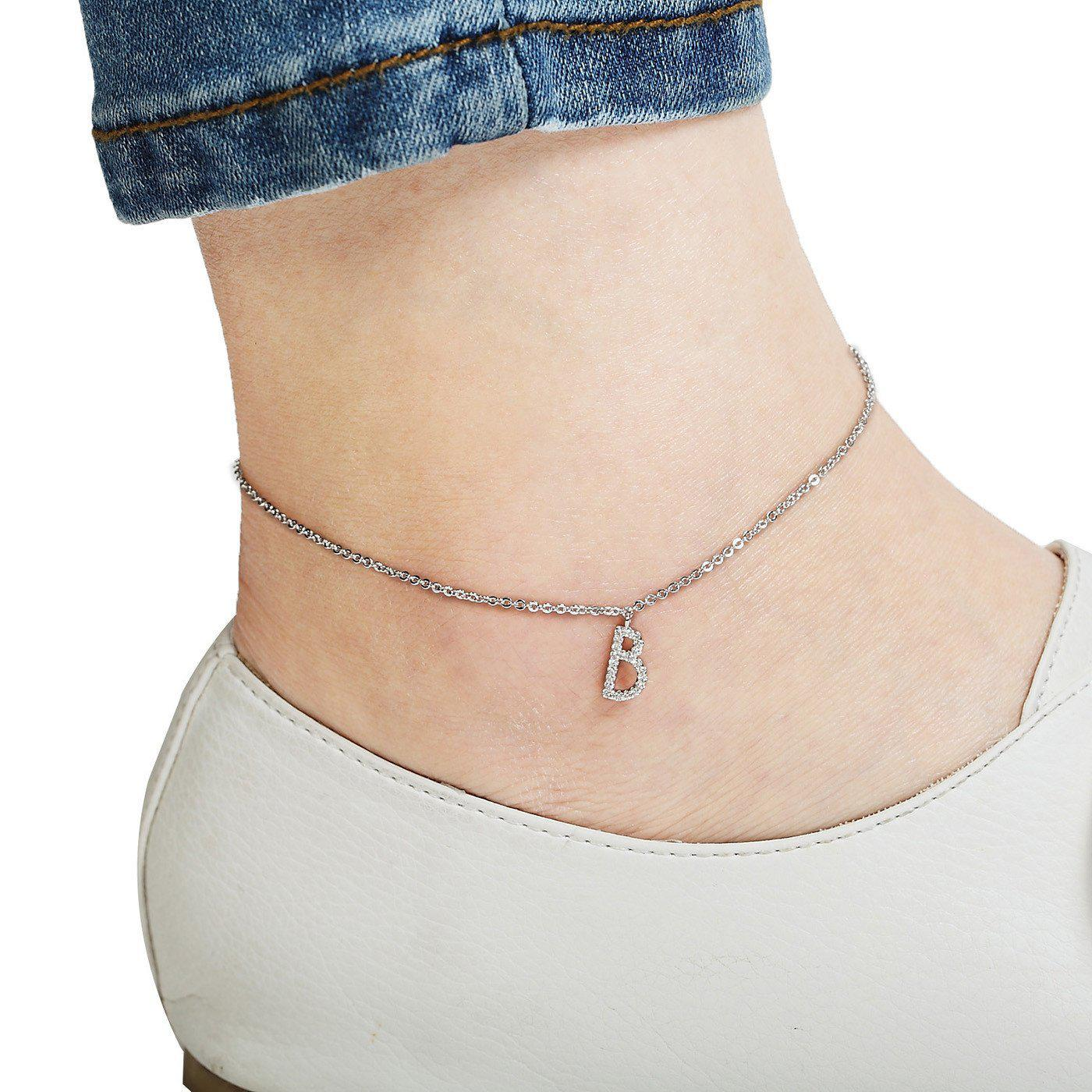 Your Initial B Anklet-Blinglane
