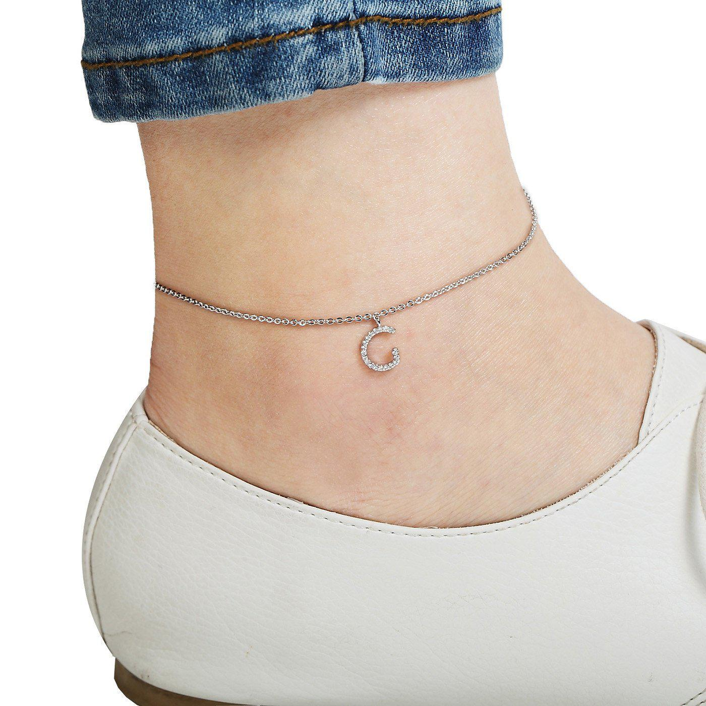 Your Initial G Anklet-Blinglane
